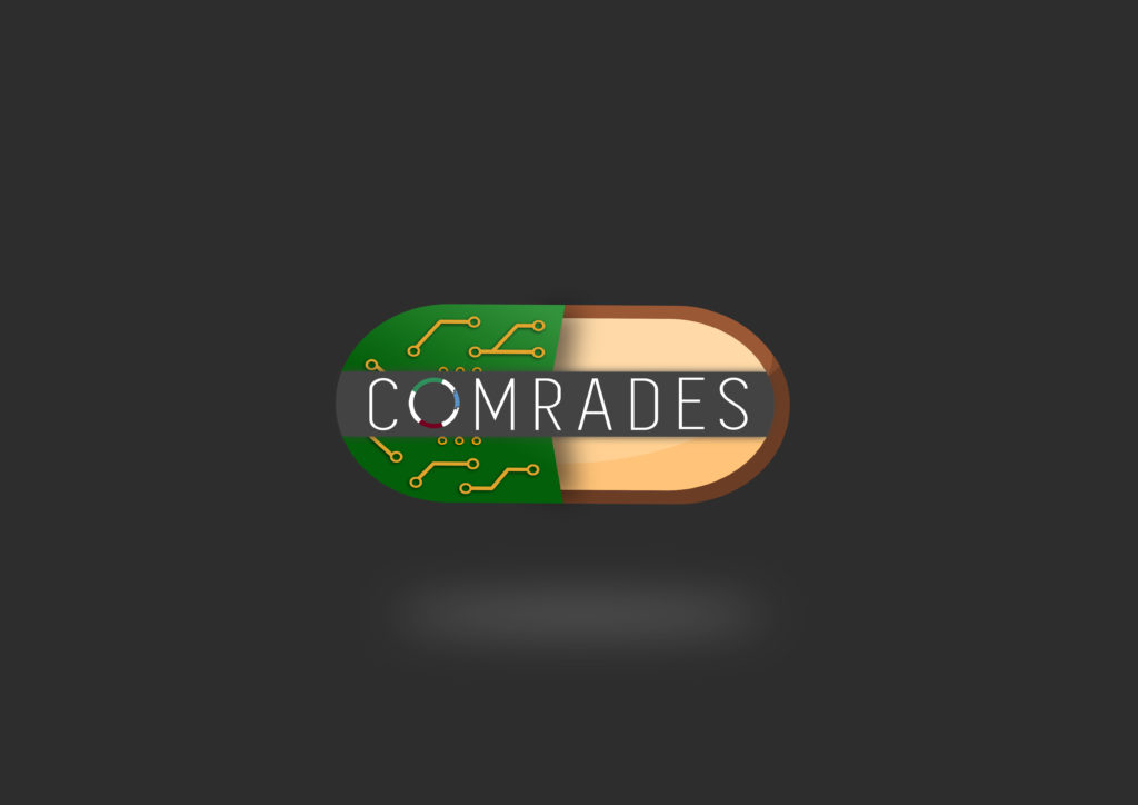 Comrades logo with dark background, with white shadow